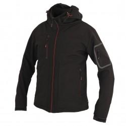 P80004 Softshellová bunda s kapucí černá s červenými detaily