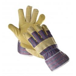 KR01 Rukavice kombinované ze žluté hovězí štípenky v dlani s podšívkou