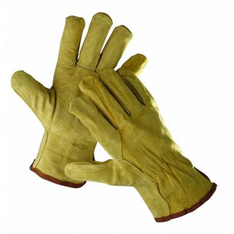 CR06 Celokožené rukavice bez podšívky ze štípané vepřovice a s pruženkou na zápěstí