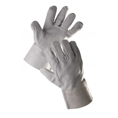 CR02 Celokožené rukavice bez podšívky z hovězí štípenky, s tuhou 7 cm širokou manžetou