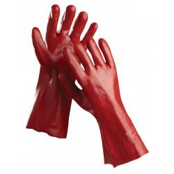 NR03 Rukavice šité z bavlněného úpletu, máčené v PVC, délka 27 cm