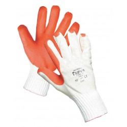 NR06 Pletené rukavice ze silné směsné příze polyester/bavlna, napuštěné latexem