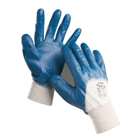 NR08 Rukavice šité z bavlněného úpletu, polomáčené v modrém nitrilu, s pružným nápletem