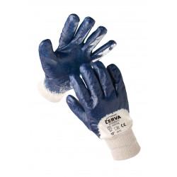 NR09 Rukavice šité z bavlněného úpletu, polomáčené v modrém nitrilu, s pružná manžeta