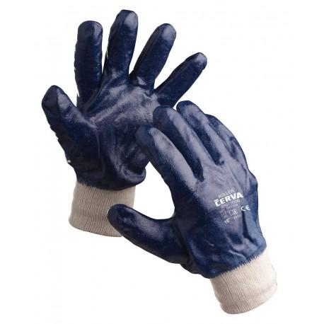 NR10 Rukavice šité z bavlněného úpletu, celomáčené v modrém nitrilu, pružná manžeta
