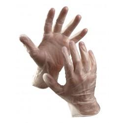 NR26 Jednorázové vinylové pudrované rukavice vhodné pro krátkodobý styk s netukovými potravinami