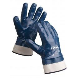 NR20 Rukavice šité z bavlněného úpletu, celomáčené v modrém nitrilu, s tuhou manžetou