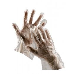 NR14 Jednorázové rukavice z bílé polyetylénové folie vhodné pro krátkodobý styk s potravinami.