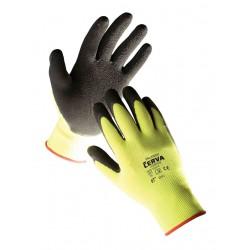 NR27 Pletené, bezešvé, nylonové rukavice s vrstvou mikorporézního paropropustného latexu