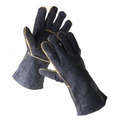 SR02 celokožené rukavice z černé hovězí štípenky