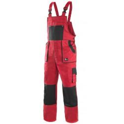 KP35C Pánské kalhoty s náprsenkou červeno-černé Lux