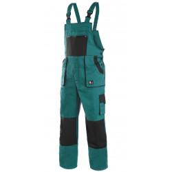 KP35Z Pánské kalhoty s náprsenkou zeleno-černé Lux