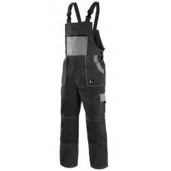 KP35CRN Pánské kalhoty s náprsenkou černo-šedé Lux