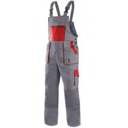 KP35S Pánské kalhoty s náprsenkou šedo-červené Lux