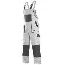 KP35B Pánské kalhoty s náprsenkou bílo-šedé Lux