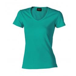 032-50 Tričko dámské do v zelené / aquamarine