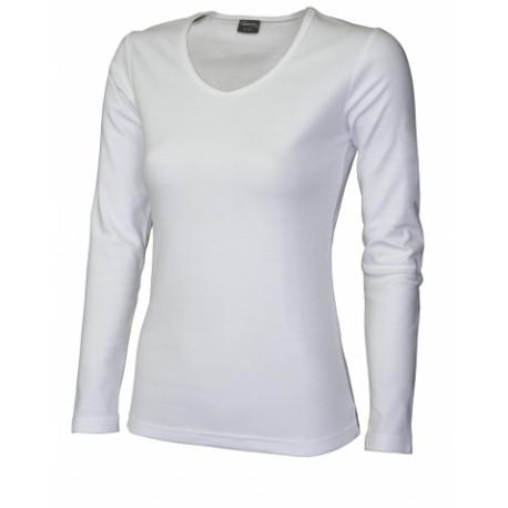 042V-01 Tričko dámské dlouhý rukáv do V bílé