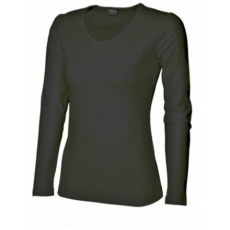 042V-02 Tričko dámské dlouhý rukáv do V černé