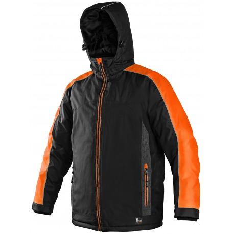 OZ1601CO Pánská zimní bunda černo oranžová